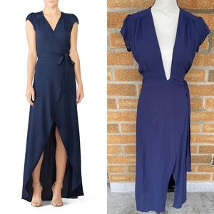 REFORMATION Chamomile Maxi Wrap Dress In Navy sz 4